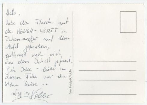 Postkarte des 3. Finders an uns (Rückseite)